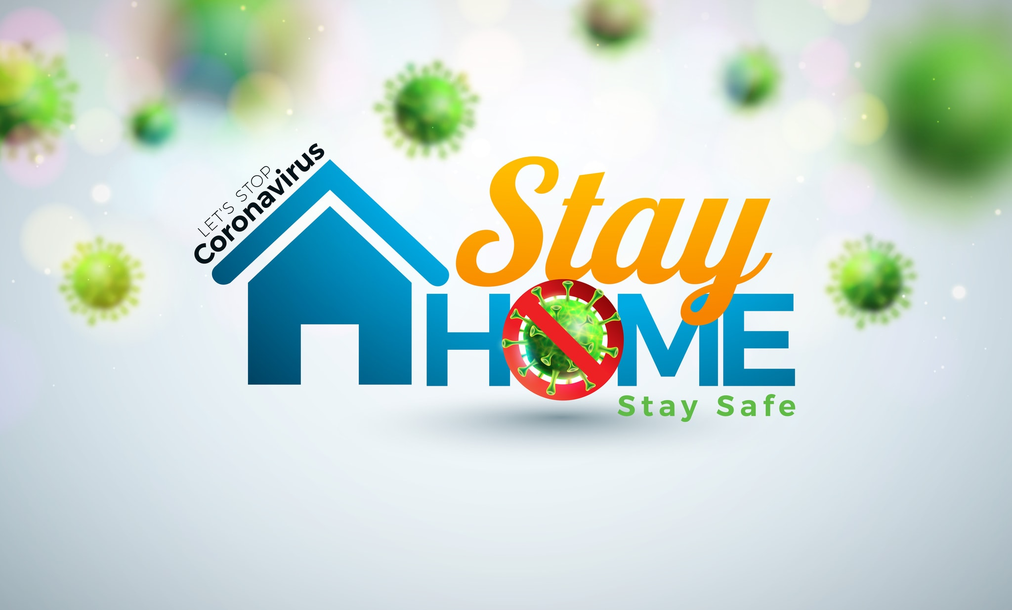 Stay Home. Stop Coronavirus Design with Covid-19 Virus and House on Light Background. Vector 2019-ncov Corona Virus Outbreak Illustration on Dangerous SARS Epidemic Theme for Banner.